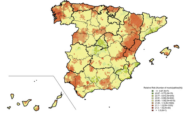 Map Of South West Spain.Map Of Mortality For Prostate Cancer In Spain Sclate