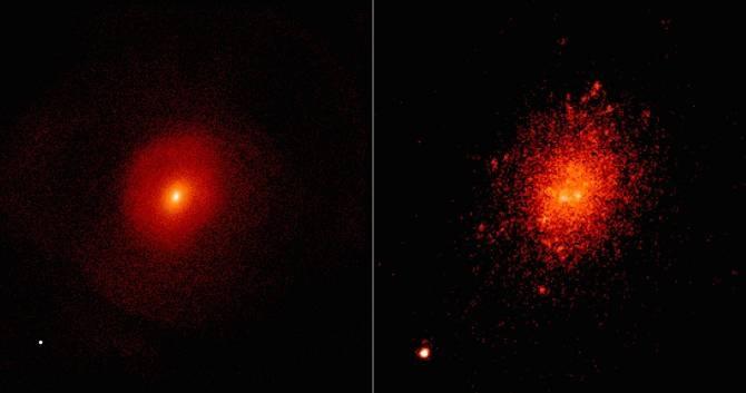 En la imagen de la izquierda, una simulación de dos galaxias que se han fusionado en una y con ello sus respectivos agujeros negros centrales supermasivos han colisionado, muestra la expulsión del remanente de agujero negro. Dicho remanente es el punto brillante que aparece abajo a la izquierda, fuera de la galaxia. En la imagen de la derecha, se muestra un paisaje cósmico real que se asemeja a la simulación. Algunos paisajes como este podrían albergar agujeros negros errantes de gran masa. (Imágenes: izquierda: L. Blecha (UMD); derecha: W. M. Keck Observatory/M. Koss (ETH Zurich) et al.)