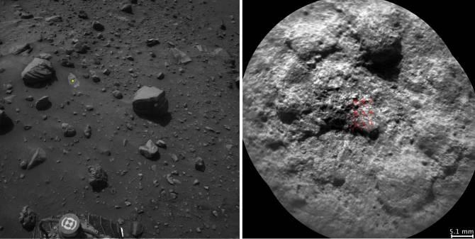 El robot Curiosity de la NASA selecciona autónomamente algunos objetivos para el láser y la cámara telescópica del instrumento ChemCam. Por ejemplo, el software de a bordo analizó la imagen Navcam de la izquierda, eligió el objetivo indicado con un punto amarillo, y apuntó el ChemCam para los disparos láser y para obtener la imagen de la derecha. (Foto: NASA/JPL-Caltech/LANL/CNES/IRAP/LPGNantes/CNRS/IAS)