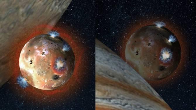 Ilustración de la luna Ío con su tenue atmósfera de dióxido de azufre (en tonos anaranjados) antes de comenzar un eclipse de Júpiter, y después, cuando el gas se congela y colapsa sobre la superficie del satélite. (Foto: Southwest Research Institute)