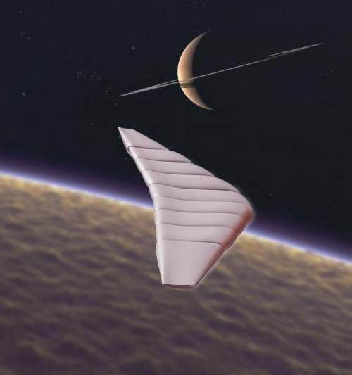 La imagen muestra a la aeronave TWA entrando en la atmósfera de Titán. (Ilustración: GAC/NGAS)