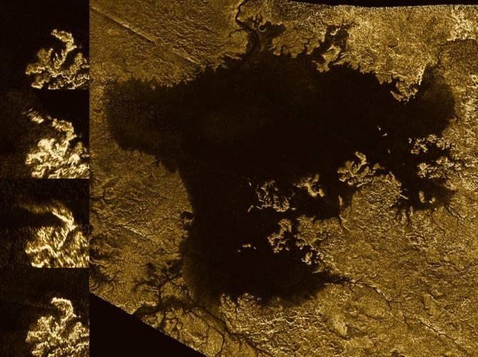 Estas imágenes del instrumento de radar a bordo de la sonda Cassini muestran la evolución de un rasgo temporal en el Mar de Ligeia, en Titán. (Foto: NASA/JPL-Caltech/ASI)