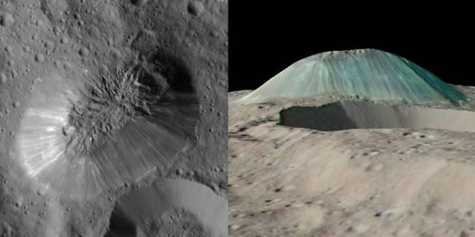 Imagen en alta resolución de Ahuna Mons y simulacion en falso color a partir de las imágenes captadas por la sonda Dawn en Ceres. (Foto: NASA/JPL-Caltech/UCLA/MPS/DLR/IDA)