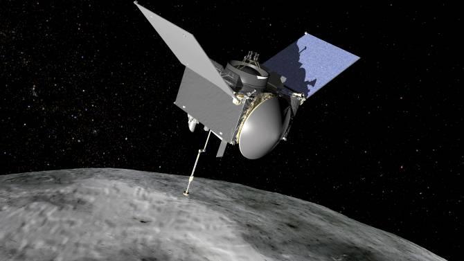 Diseño 3D de la sonda OSIRIS-REx en el asteroide Bennu. (Crédito: NASA/Goddard Space Flight Center)